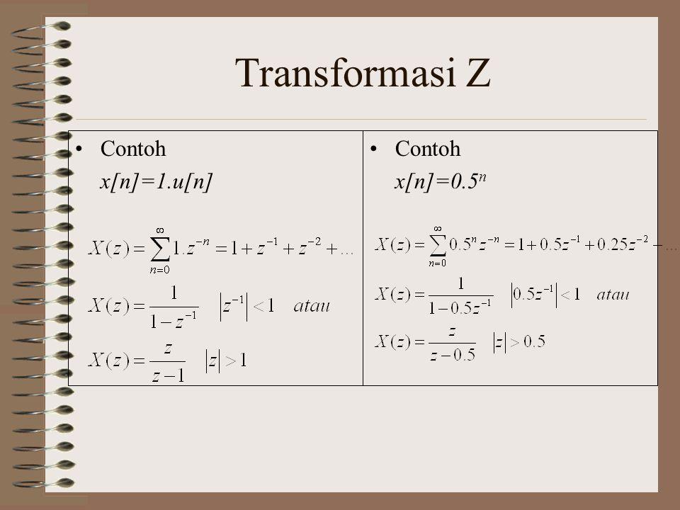 Transformasi Z Contoh x[n]=1.u[n] Contoh x[n]=0.5n